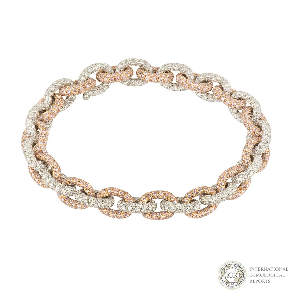 White and Rose Gold Diamond Link Bracelet 13.00ct